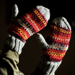 Hand made mittens on black