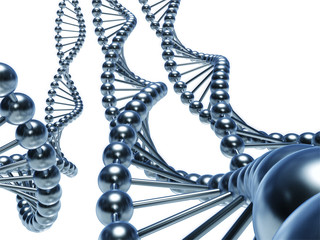 DNA Chains isolated (3d render)