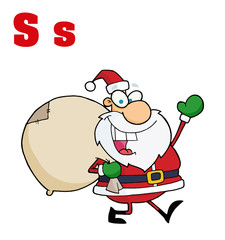 Funny Cartoons Alphabet-Santa With Letters S