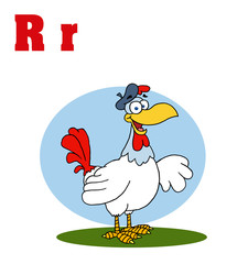 Funny Cartoons Alphabet-Rooster With Letters R