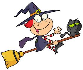 Cartoon character halloween little witch
