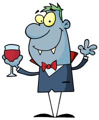 Cartoon character halloween vampire with a glass