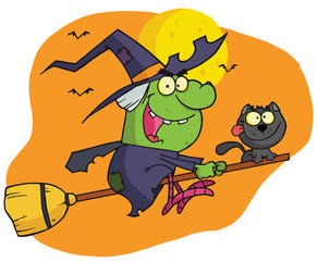 Character harrison rode a broomstick with a cat