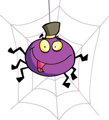 Purple Halloween Spider Wearing A Hat