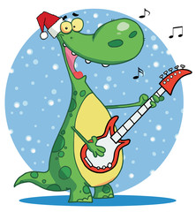 Dinosaur plays guitar with santa ha infront