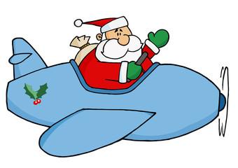 Waving Santa Claus Flying His Christmas Plane