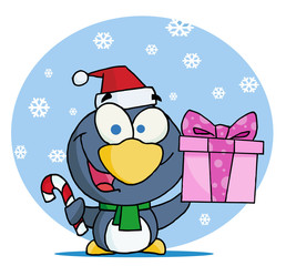Christmas Penguin Holding A Gift And Candy Cane