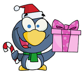 Christmas Penguin Holding A Present And Candy Cane