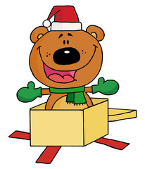 Christmas Bear Popping Out Of A Gift Box