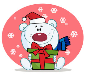 Giving Christmas Polar Bear Holding A Gift