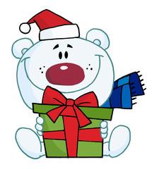 Christmas Polar Bear Holding A Gift