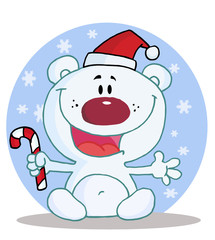 Christmas Polar Bear Holding A Candy Cane