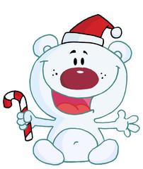 Christmas Polar Bear Holding A Candy Cane