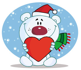 Christmas Polar Bear Holding A Heart