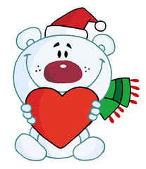 Sweet Christmas Polar Bear Holding A Heart