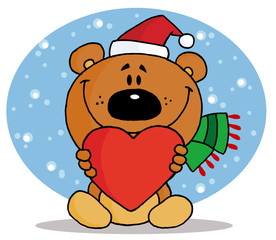 Christmas Bear Holding A Red Heart