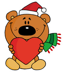 Sweet Christmas Teddy Bear Holding A Red Heart
