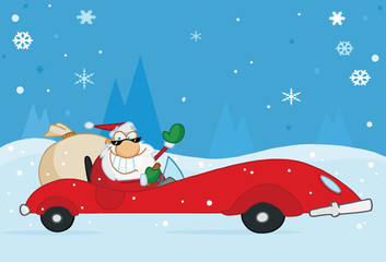 Christmas Santa Waving From His Red Sports Car