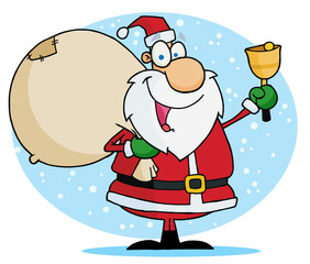 Santa Claus Ringing A Bell And Carrying His Toy Sack