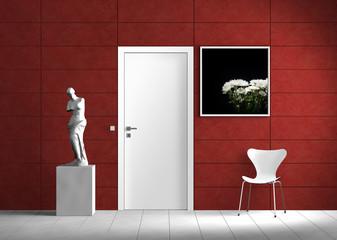 Innenraum mit roter Wand Rendering