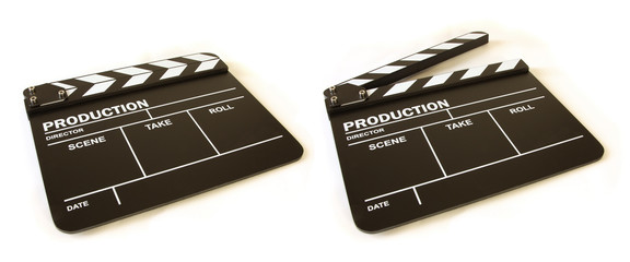 movie clapper board perspective view