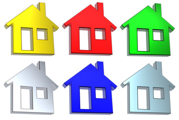 Set of 6 color house icon