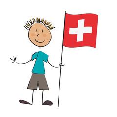 enfant drapeau suisse