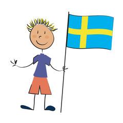enfant drapeau Suède