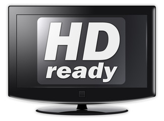 "Flatscreen TV with ""HD ready"" wording on screen"