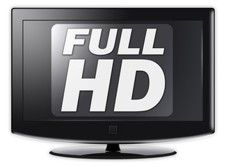 "Flatscreen TV with ""Full HD"" wording on screen"