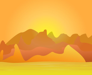 The image of desert and mountains on a distant background