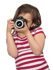 Girl taking a picture with a professional camera