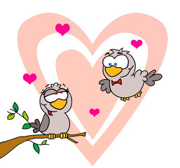 Two Turtle Doves By A Branch In Front Of A Big Heart