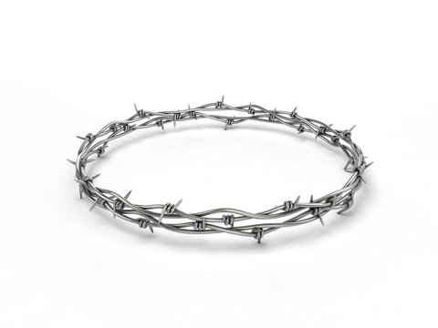 Barbed wire wreath on white background