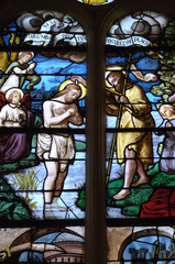 Foto op Plexiglas Stained France, vitraux de l'église Saint Martin de Triel
