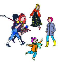 planche 5 enfants, pour illustration