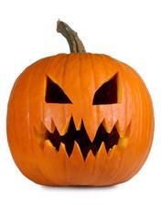 Evil pumpkin on white
