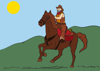 Printed roller blinds Wild West older rider on horseback riding fast landscape