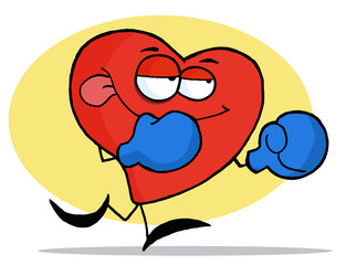Boxing Red Heart Character Wearing Blue Gloves