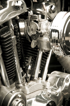 chromed motorcycle engine detail