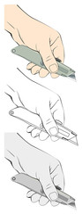 Vector illustration of hand holding utility knife