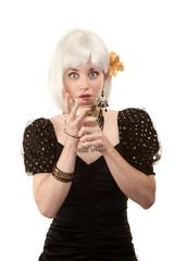 Pretty woman with white hair