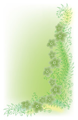 Refined Floral vignette. In Color. Eau-forte EPS-10.