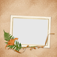 Vintage card with flower and frame