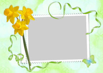 Spring card with  frame and narcissus