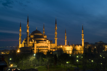 Blue Mosque at dusk Istanbul