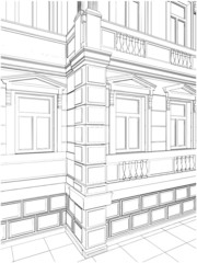 Building Corner Residential Eclectic House Vector 09