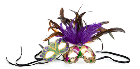 Wall Mural - Mardi gras masks on a white background