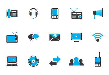 Communication icons - blue black series