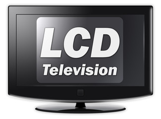 "Flatscreen TV with ""LCD Television"" wording on screen"